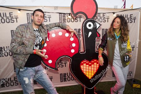 Example and his wife Erin McNaught hang out at Nando's after tucking into their PERi-PERi feast before his headline slot at Boardmasters