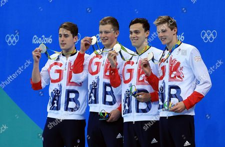 Chris Walker-Hebborn, Adam Peaty, James Guy and Duncan Scott of Great Britain win Silver in the Men's 4x100m Medley Relay Final on Day 8 of the Rio 2016 Olympic Games at the Olympic Aquatics Stadium on August 13, 2016 in Rio de Janerio, Brazil.  (Photo by Vaughn Ridley/SWpix.com)