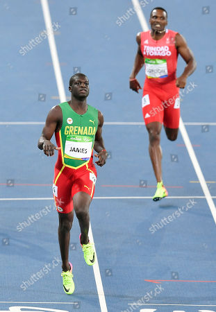 Grenada's Kirani James, left, and Trinidad and Tobago's Lalonde Gordon compete in a men's 400-meter semifinal during the athletics competitions of the 2016 Summer Olympics at the Olympic stadium in Rio de Janeiro, Brazil