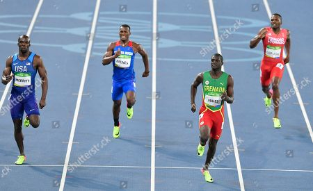 Trinidad and Tobago's Lalonde Gordon, right, Grenada's Kirani James, second right, Costa Rica's Nery Brenes, second left, and United States' Lashawn Merritt compete in a men's 400-meter semifinal during the athletics competitions of the 2016 Summer Olympics at the Olympic stadium in Rio de Janeiro, Brazil