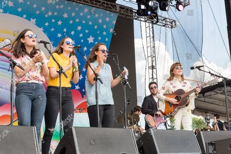 Stock Picture of Jenny Lewis with The Staves - Emily Staveley-Taylor, Jessica Staveley-Taylor, Camilla Staveley-Taylor and Jenny Lewis