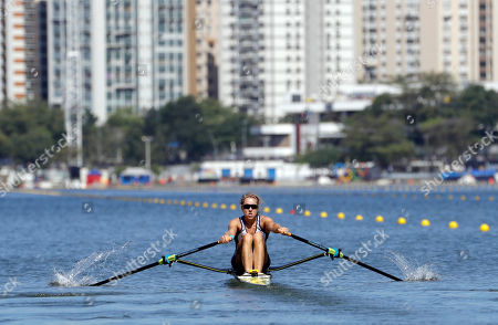 Genevra Stone, of United States, rows for silver in the women's rowing single sculls final during the 2016 Summer Olympics in Rio de Janeiro, Brazil