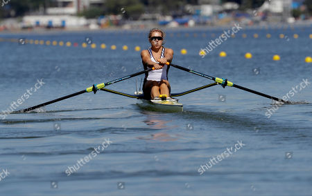 Stock Photo of Genevra Stone, of United States, rows for silver in the women's rowing single sculls final during the 2016 Summer Olympics in Rio de Janeiro, Brazil