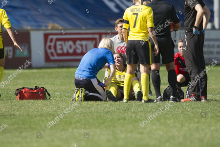 Annette Nuttall (Watford) with team mate Ellie mason who suffered a bad injury  during Sheffield FC Ladies vs Watford Ladies, FA Women's Super League FA WSL2 Football at the Coach and Horses Ground on 14th August 2016