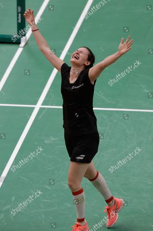Linda Zetchiri Bulgaria's Linda Zetchiri celebrates after beating Britain's Kirsty Gilmour during a Women's singles match