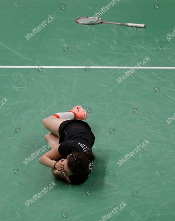 Stock Picture of Linda Zetchiri Bulgaria's Linda Zetchiri celebrates after beating Britain's Kirsty Gilmour during a Women's singles match