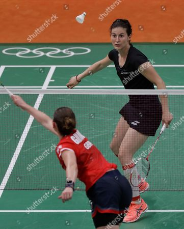 Stock Image of Kirsty Gilmour Britain's Kirsty Gilmour, bottom, returns a shot to Bulgaria's Linda Zetchiri during a Women's singles match