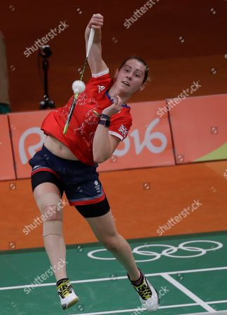 Stock Photo of Kirsty Gilmour Britain's Kirsty Gilmour returns a shot to Bulgaria's Linda Zetchiri during a Women's singles match