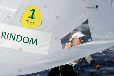 Denmark's Anne-Marie Rindom competes during a Laser Radial women race at the 2016 Summer Olympics in Rio de Janeiro, Brazil