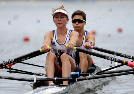 Stock Image of Charlotte Taylor and Katherine Copeland, of Britain, compete in the women's rowing lightweight double sculls final during the 2016 Summer Olympics in Rio de Janeiro, Brazil