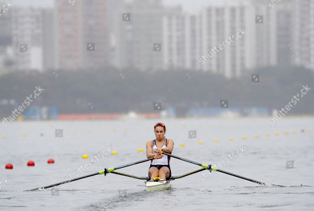 Genevra Stone, of United States, competes in the women's rowing single sculls semifinal during the 2016 Summer Olympics in Rio de Janeiro, Brazil