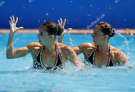 Spain's Ona Carbonell and Gemma Mengual compete during the synchronized swimming duet free routine preliminary round in the Maria Lenk Aquatic Center at the 2016 Summer Olympics in Rio de Janeiro, Brazil