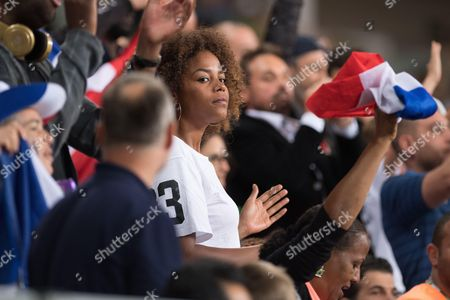 Luthna Plocus companion of Teddy Riner attends the Men's +100kg Judo contest at Carioca Arena during