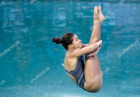 United States' Kassidy Cook competes during the women's 3-meter springboard diving preliminary round in the Maria Lenk Aquatic Center at the 2016 Summer Olympics in Rio de Janeiro, Brazil