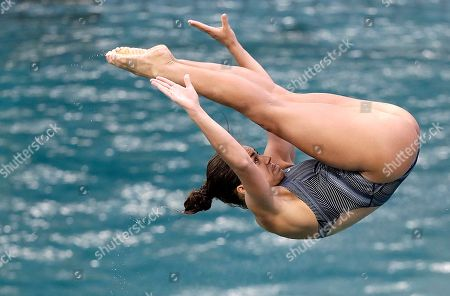 United States' Kassidy Cook practices diving ahead of the women's 3-meter springboard diving preliminary round in the Maria Lenk Aquatic Center at the 2016 Summer Olympics in Rio de Janeiro, Brazil