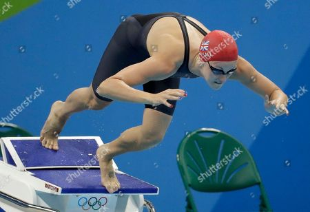 Britain's Francesca Halsall begins her 50-meter freestyle semifinal competition during the swimming competitions at the 2016 Summer Olympics, in Rio de Janeiro, Brazil