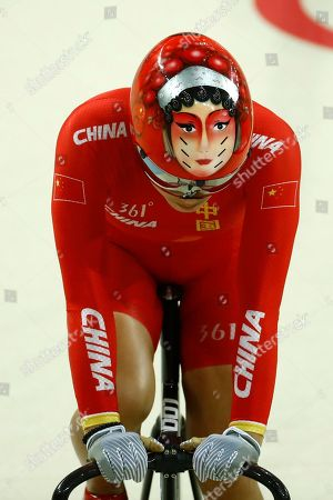 Jinjie Gong of China gets ready to compete in the Women's team sprint qualifying