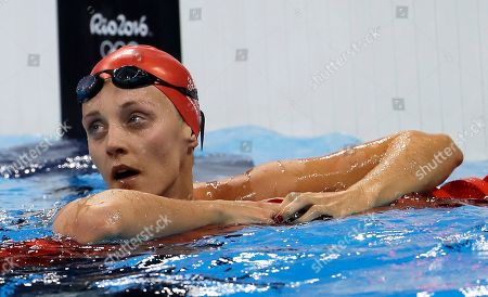 Stock Image of Britain's Francesca Halsall checks her time during a women's 50-meter freestyle heat during the swimming competitions at the 2016 Summer Olympics, in Rio de Janeiro, Brazil
