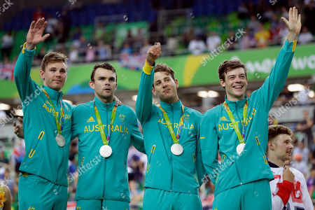 Alexander Edmondson, Sam Welsford, Jack Bobridge, Michael Hepburn Silver medalists, from right, Alexander Edmondson, Sam Welsford, Jack Bobridge, and Michael Hepburn of Australia stand on the podium of the Men's team pursuit final at the Rio Olympic Velodrome during the 2016 Summer Olympics in Rio de Janeiro, Brazil