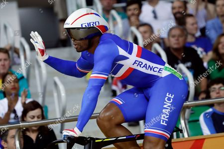 Gregory Bauge Gregory Bauge of France waves after competing in the Men's sprint qualifying at the Rio Olympic Velodrome during the 2016 Summer Olympics in Rio de Janeiro, Brazil