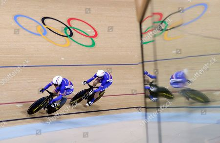 Virginie Cueff, Sandie Clair Virginie Cueff of France, left, and teammate Sandie Clair compete in the Women's team sprint qualifying at the Olympic Velodrome during the 2016 Summer Olympics in Rio de Janeiro, Brazil