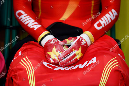 Stock Picture of Gong Jinjie Gong Jinjie of China waits to compete in the Women's Keirin first round at the Rio Olympic Velodrome during the 2016 Summer Olympics in Rio de Janeiro, Brazil