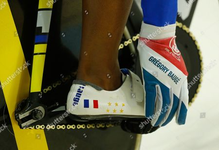 Jason Kenny, Fabian Puerta Gregory Bauge of France gets ready to compete in the Men's Sprint 1/8 finals at the Rio Olympic Velodrome during the 2016 Summer Olympics in Rio de Janeiro, Brazil