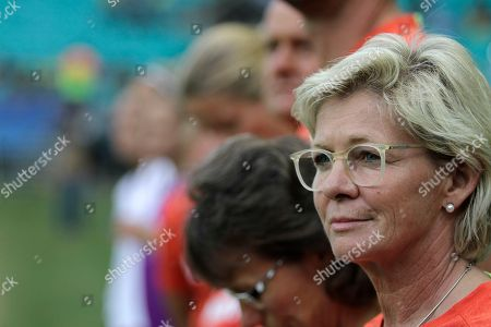 Silvia Neid Germany's coach Silvia Neid watches her team during the quarter-final match of the women's Olympic football tournament between Germany and China at the Fonte Nova Arena in Salvador, Brazil
