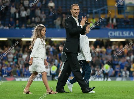 Former Chelsea player Ricardo Carvalho and his children are presented to the crowd, The English Premier League, Stamford Bridge, London, Britain