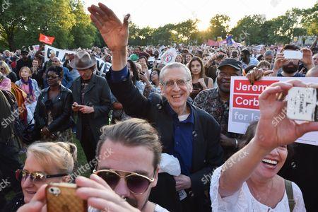 Piers Corbyn. (centre) Jeremy Corbyn speaks at a BAME rally in Highbury Fields.