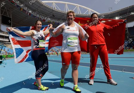 Britain's bronze medal winner Sophie Hitchon, Poland's gold medal winner Anita Wlodarczyk and China's silver medal winner Zhang Wenxiu, from left, during the athletics competitions of the 2016 Summer Olympics at the Olympic stadium in Rio de Janeiro, Brazil