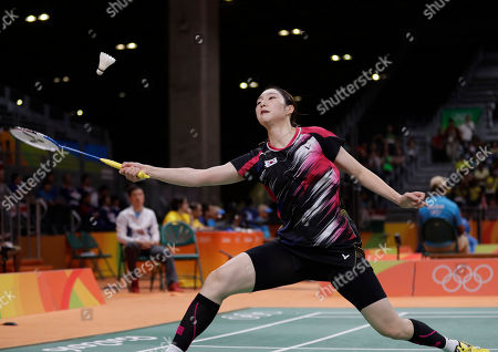 Sung Ji-hyun South Korea's Sung Ji-hyun returns a shot to Bulgaria's Linda Zetchiri during a Women's singles match