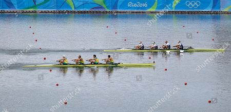 Stock Image of William Lockwood, Joshua Dunkley-Smith, Joshua Booth and Alexander Hill, of Australia, row for silver as Alex Gregory, Mohamed Sbihi, George Nash and Constantine Louloudis, of Britain, top row for gold in the men's rowing four final during the 2016 Summer Olympics in Rio de Janeiro, Brazil