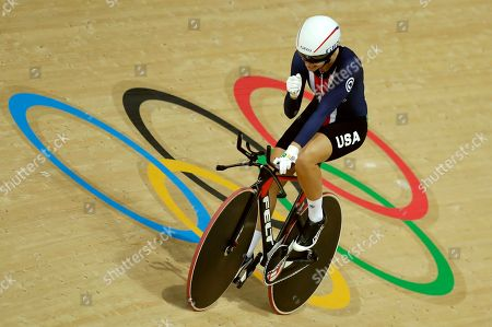 Sarah Hammer of the United States celebrates after the women's omnium cycling time trial at the Rio Olympic Velodrome during the 2016 Summer Olympics in Rio de Janeiro, Brazil