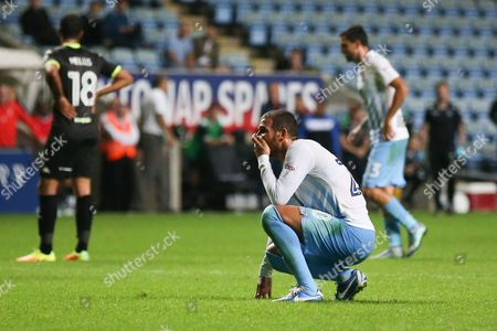 Coventry City forward Marcus Tudgay (20)  watches as Coventry City miss another chance during the EFL Sky Bet League 1 match between Coventry City and Bury at the Ricoh Arena, Coventry