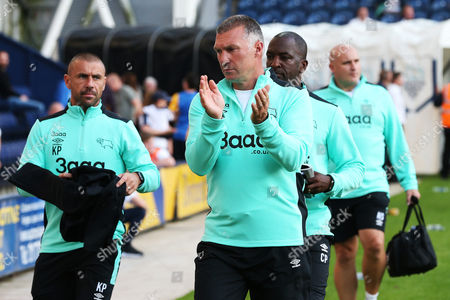 Derby County manager Nigel Pearson with coaching staff Kevin Phillips, Chris Powell and Neil Sullivan