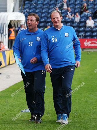 Preston North End manager Simon Grayson and First Team coach Steve Thompson