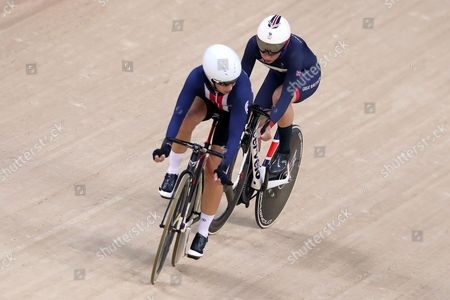 Stock Photo of Cycling - Laura Trott of Team GB in action in the Points Race as she leads the Women's Omnium alongside Sarah Hammer of USA currently in second place during day eleven of the Rio Olympics 2016 on the 16th August 2016