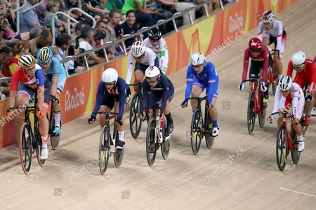 Cycling - Laura Trott of Team GB in action in the Points Race as she leads the Women's Omnium alongside Sarah Hammer of USA in second place during day eleven of the Rio Olympics 2016 on the 16th August 2016
