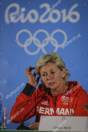 Silvia Neid from Germany olympics soccer team during a press conference before the match against Canada at Mineirao Stadium