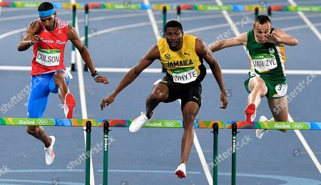 Puerto Rico's Javier Culson, left, Jamaica's Annsert Whyte, center, and South Africa's L.j. van Zyl compete in a men's 400-meter hurdles semifinal during the athletics competitions of the 2016 Summer Olympics at the Olympic stadium in Rio de Janeiro, Brazil
