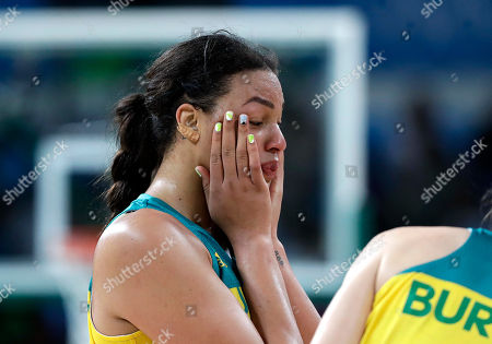 Australia's Elizabeth Cambage reacts after the team's loss to Serbia in a women's quarterfinal round basketball game at the 2016 Summer Olympics in Rio de Janeiro, Brazil