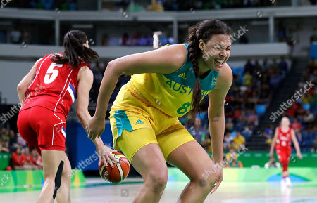 Australia's Elizabeth Cambage (8) reacts after she missed her last attempt to score against Serbia in a women's quarterfinal round basketball game at the 2016 Summer Olympics in Rio de Janeiro, Brazil