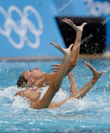 Spain's Ona Carbonell and Gemma Mengual compete during the synchronized swimming duet free routine final in the Maria Lenk Aquatic Center at the 2016 Summer Olympics in Rio de Janeiro, Brazil