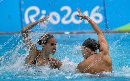 Stock Photo of Spain's Ona Carbonell and Gemma Mengual compete during the synchronized swimming duet free routine final in the Maria Lenk Aquatic Center at the 2016 Summer Olympics in Rio de Janeiro, Brazil