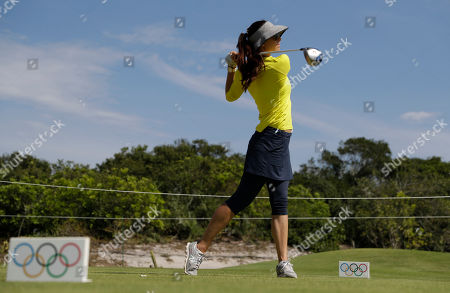 Maria Verchenova of Russia tees off on the fifth hole during a practice round for the women's golf event at the 2016 Summer Olympics in Rio de Janeiro, Brazil