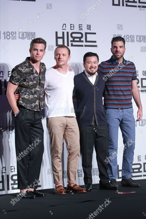 Chris Pine, Simon Pegg, Justin Lin and Zachary Quinto