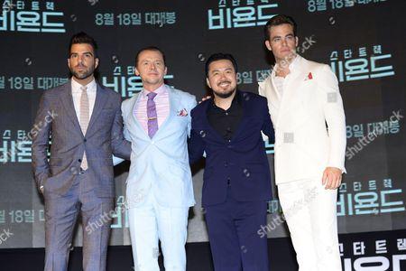 Zachary Quinto, Simon Pegg, Justin Lin and Chris Pine