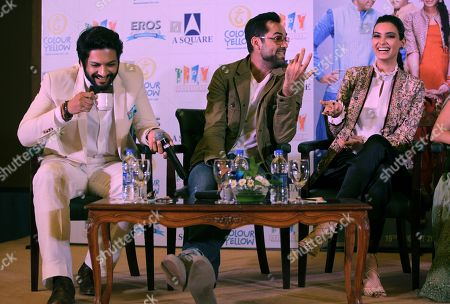 """Ali Fazal, Abhay Deol, Diana Penty Bollywood actor Ali Fazal, left, Abhay Deol, center, and Diana Penty, chat during the promotion of their upcoming movie """"Happy Bhag Jayegi"""" in New Delhi, India"""