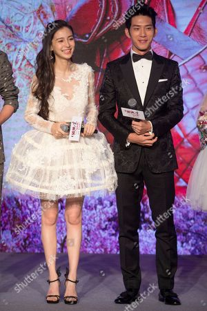 """Stock Photo of Angelbaby, Jing Boran Hong Kong actress Angelababy and Chinese actor Jing Boran attend a press conference for the Chinese movie """"Love O2O"""" in Beijing, . The romance film opens in China on Aug. 12"""